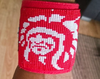 Loom beaded bracelet with native american portrait / Beaded bracelet Native American inspired