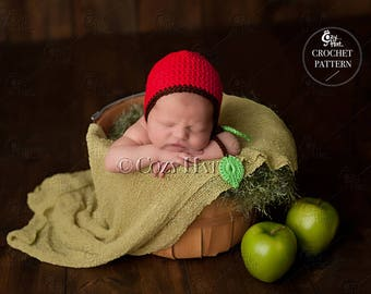 CROCHET PATTERN Apple Baby Bonnet by Cozy Hat.