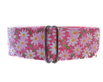 1.5 Inch Martingale Collar, Pink Martingale Collar, Pink Dog Collar, Daisy Dog Collar, Greyhound Martingale, Custom Dog Collar