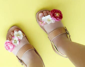 Child Double Strap Floral Greek Summer Leather Sandals - with Colorful flower Embellishment for wedding / flower girl