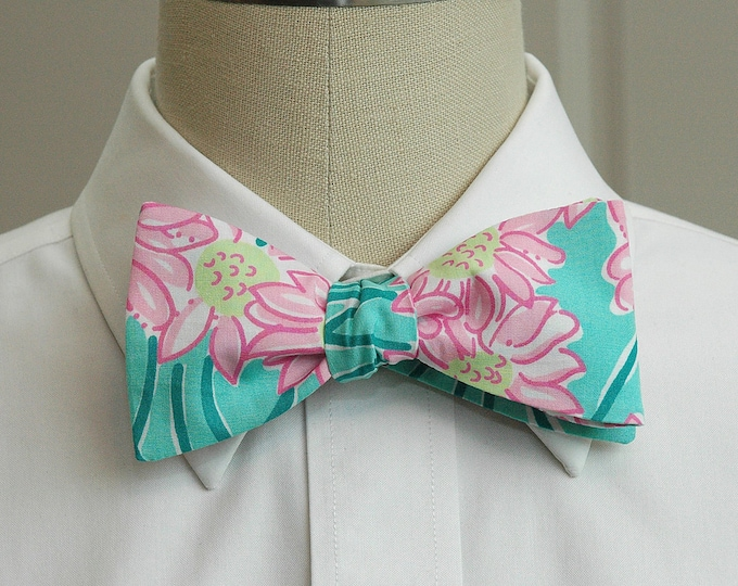 Men's Bow Tie, Blue Grass pink/teal/aqua Lilly daisy print bow tie, wedding bow tie, groom/groomsmen bow tie, prom bow tie, tux accessory