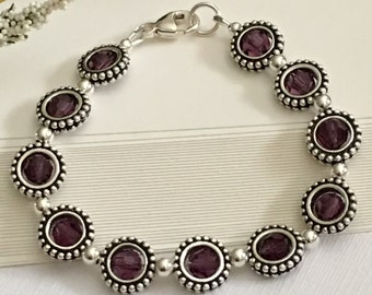 Bracelet-February Birthstone-Birthday Gift-Bead Frame Bracelet-Amethyst-Purple and Sterling Silver-Size 7 Wrist-Swarovski Crystal-Lobster