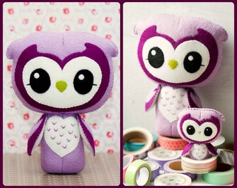 PDF. Wise owl and small owl brooch. Plush Doll Pattern, Softie Pattern, Soft felt Toy Pattern.