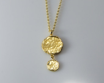 Coins Necklace, Gold Coin, Coin Jewelry, Gift For Her, Hammered Coins Necklace, Charm Necklace