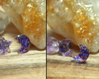 Purple Kawaii Celestial Magic Glitter Resin Moon OR Star Stud Earrings