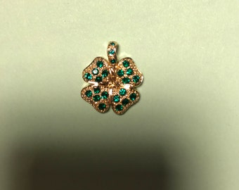 3 pcs Wholesale Rhinestone Four leaf clover charms