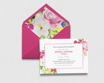 "Hot Pink Watercolor Floral 5"" x 7"" Bridal Shower Invitation - Digital or Printed"