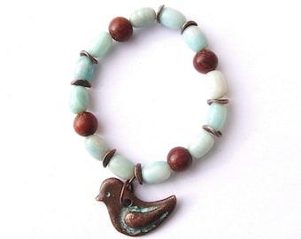Amazonite & Copper Patina Sparrow Charm Bracelet, amazonite jewelry, bird jewelry, charm bracelet, copper jewelry, copper bracelet