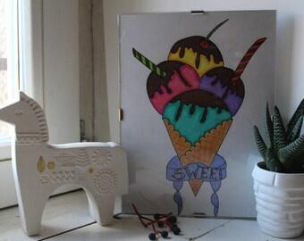 Handmade picture-Color pencils-ice cream-hand painted-professional pencils-Original-colors-decoration