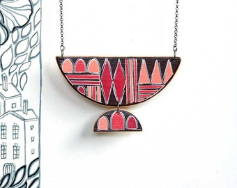 Statement Geometric Necklace Contemporary Red and Coral Necklace Trending Now Gift for Wife Girlfriend Gift for Her Modern Wearable Art