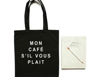 coffee, tote bag, french quote, paris theme party, black tote bag, canvas, teacher tote bag, market bag, mothers day gift, mom gift