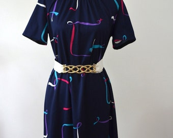 Vintage 1960s Shift Dress Navy with Abstract Ribbon Print - Short Sleeved Dress Mad Men