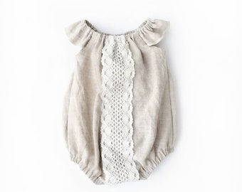 Baby girl linen romper, baby sunsuit, romper, linen and cotton lace playsuit, summer playsuit, baby shower gift, vintage inspired romper,