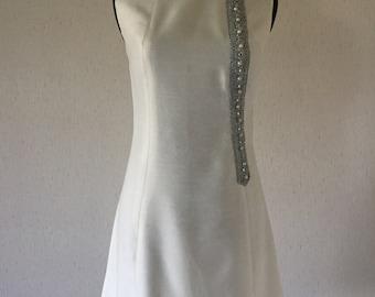 Vintage 60s White Sparkly Mod Dress