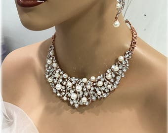 Rose Gold Bib Necklace Earring Set, Ivory Pearl Bridal Jewelry, Classic Statement Bridal Gift Set, Vintage Inspired Cluster Wedding Jewelry