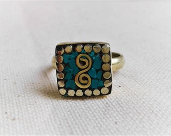 Turquoise blue ethnic ring Nepal the Tibet