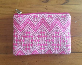Coin Purse / Vintage PINK and White Small Change Bag / Ethnic boho pouch / with zipper