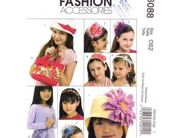 Mädchen Accessoires Muster McCalls 6088 Krempe Hut Stirnband Tasche Hut Herz Handtasche Mädchen Größe S M L Schnittmuster ungeschnitten