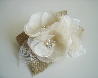 Rustic Burlap Bridal  Hair Clip Champagne Hair Comb Wedding Hair Accessories Burlap Flower Wedding Hair Piece Bridal Hair Flower