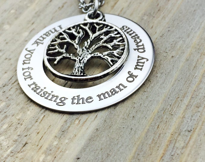 New Low Price - Thank you for raising the man of my dreams, stainless steel pendant, wedding, mother-in-law, marriage, mother of the groom