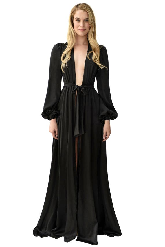 Floor Length Black Silk Dress