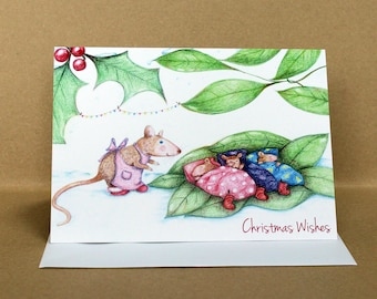 Asleep at Last Mouse Christmas Card