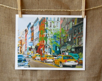 West Side Taxi New York City Art NYC Cabs NYC Print Cityscape Painting, Urban Art. Manhattan Painting. New York City Painting. Gwen Meyerson