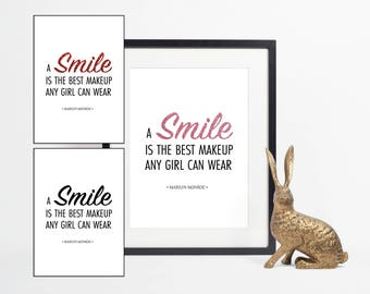 A smile is the best makeup any girl can wear, Marilyn Monroe Quote, Fashion Print, Printable Wall Art Decor, Bedroom Decor, Digital Download