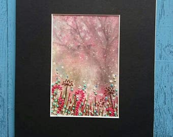 Textile Artwork - Mist in the Trees - Small Hand Painted and Stitched Mounted Artwork (6 inches by 4 inches)