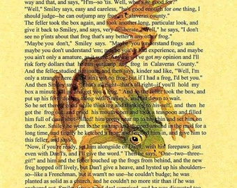 The Celebrated Jumping Frog of Calaveras County by Mark Twain... 8 1/2 x 11 Humorous Literature Cottage Decor Art print