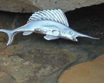 William Spratling ~ Small Sterling Silver Swordfish Pin / Brooch c. 1956 - 1964