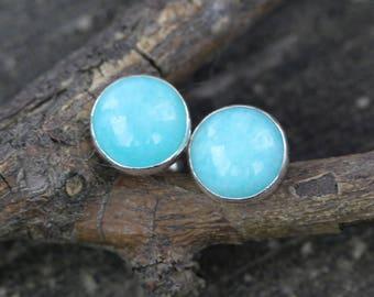 Amazonite sterling silver stud earrings