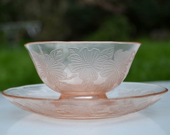 "Vintage 1930s ""Dogwood"" Low Footed Sherbet and Saucer, MacBeth-Evans Glass Company"