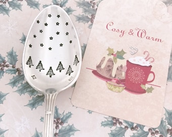 Silver Spoon landscape Christmas - engraved spoon