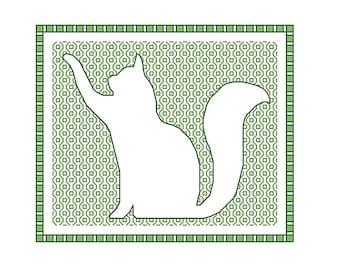 Blackwork Cat, blackwork animals chart PDF pattern cats