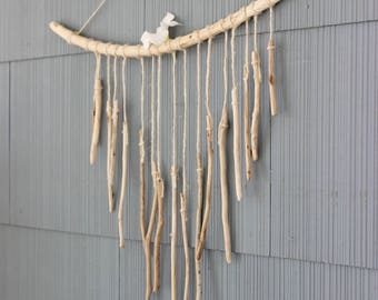 Handcrafted Boho Home Driftwood Wind Chime , Natural Art , Beach House Decoration