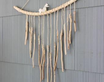 Fabriqués à la main Boho maison bois flotté carillon, naturelles Art, plage de décoration de la maison
