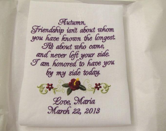 Wedding Handkerchief, Friendship Handkerchief, Mother of the Bride Gift, Bridal Handkerchiefs, Custom Hankies, Mother of the Groom Gift