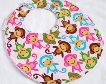 Baby Girl Bib - Monkeys in Spring  - Cotton bib with pink terry cloth backing
