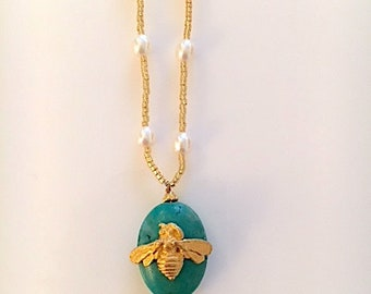 Turquoise Pearl and Bee Necklace
