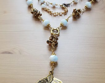 sold out Unique chunky bead necklace-Oval bronze crystal bead-Pure White Crystals-Leaf Drop