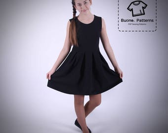 Pleated dress PDF Pattern.Pleated dress for girls age 6 to 13.PDF sewing pattern.pdf pattern.PDF pattern for children.Dress parrern for girl