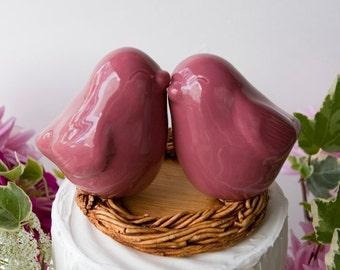 Dark Pink Love Bird Cake Topper