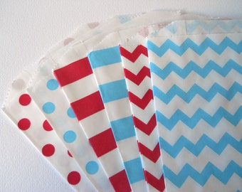 RED AND BLUE Party - Qty 12 - Treat Bag - 5x7 - Favor Bag - Red and blue - Birthday Party - Baby shower - Fourth of July