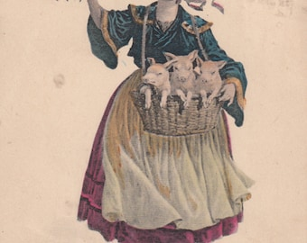 Pre 1907 French Girl Carrries Piglets Pigs In Basket, Bonne Annee Happy New Year Postcard