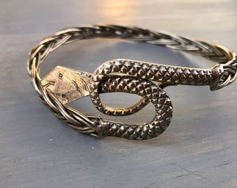 Vintage Snake Arm Band Coiled Snake Serpent Silver Harem Jewelry