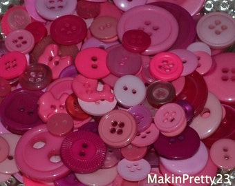 Pink Buttons Mixed Bulk Choose your Quantity 50 or 100, Assorted Sizes, Sewing Buttons Scrapbooking Craft