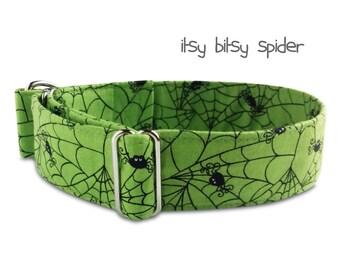 green dog collar spiders, spider web, spiders, halloween, green black, custom, martingale collar, buckle collar; wide, greyhound collar