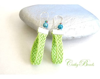Light green woven earrings
