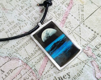 Leather Surfer Necklace Choker With Pewter Dog Tag Surfing Night Tides Moon